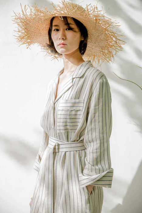 linen robe dress ( beige )