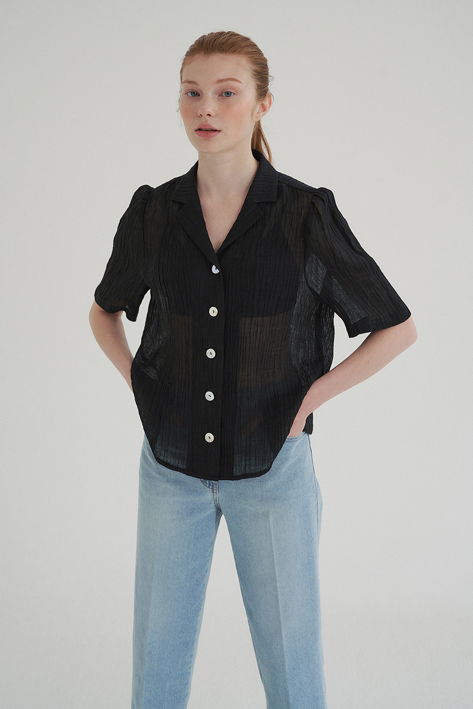 linen puff blouse (black)
