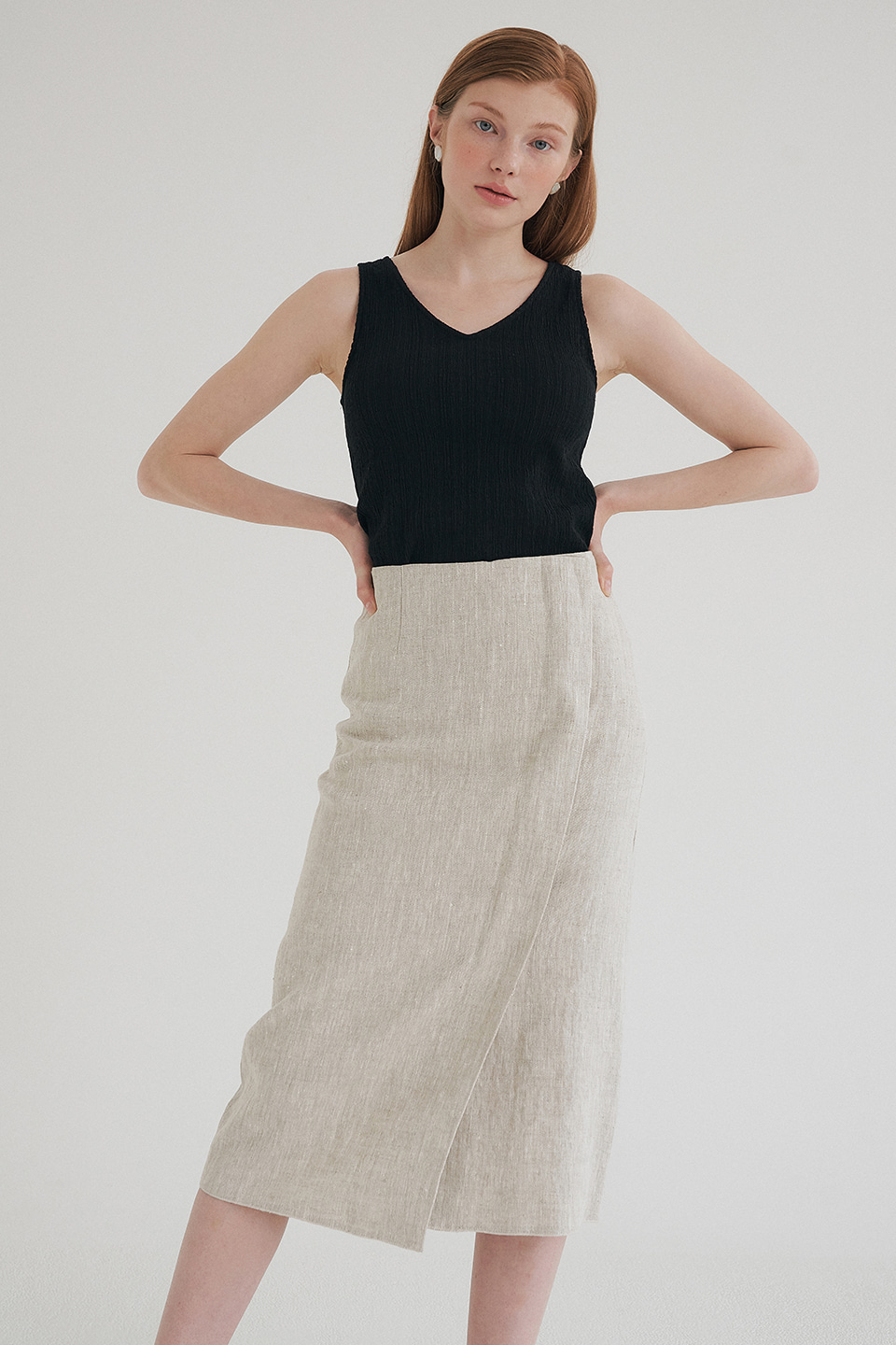 linen wrap skirt (light beige)