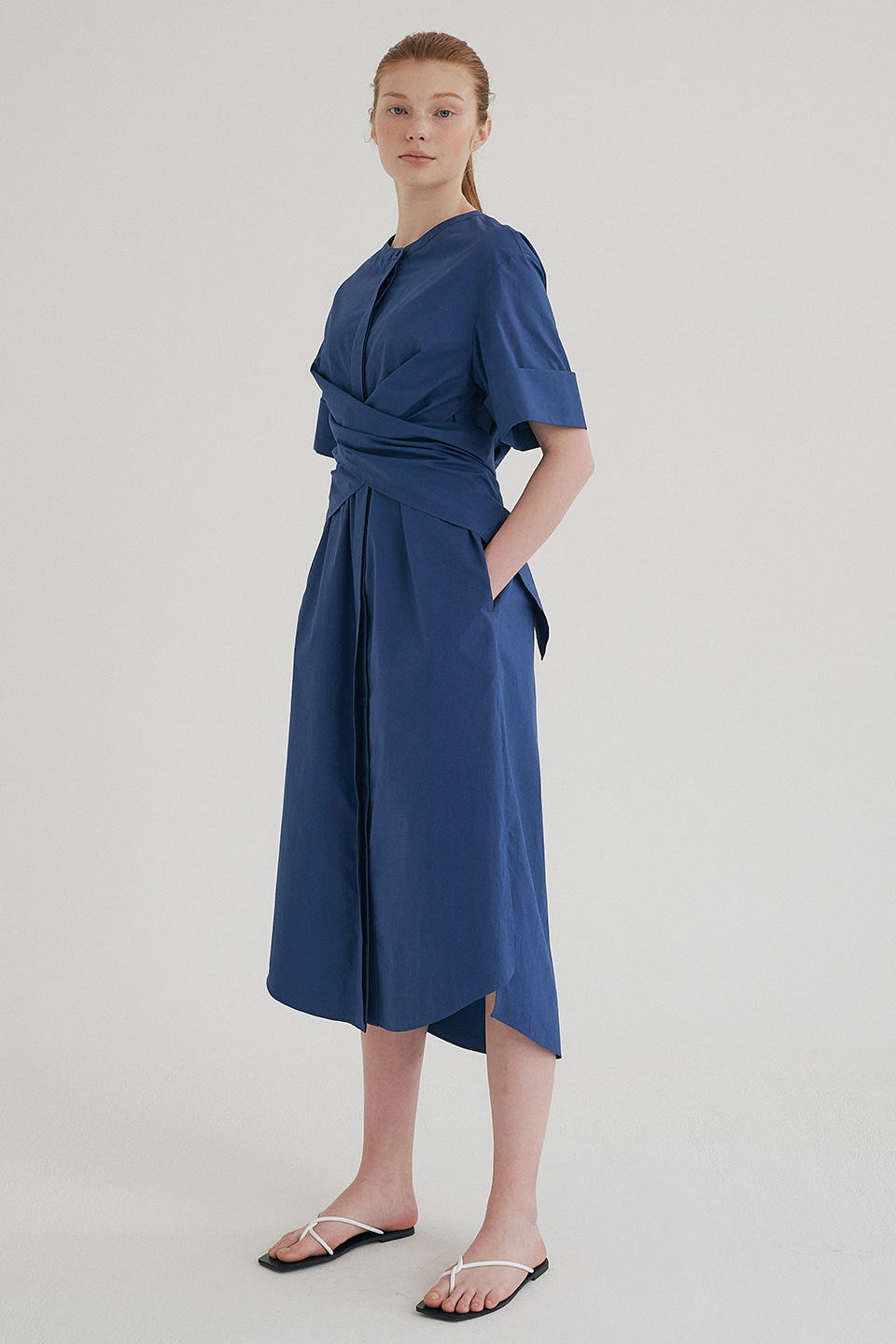 twist cotton dress (blue)