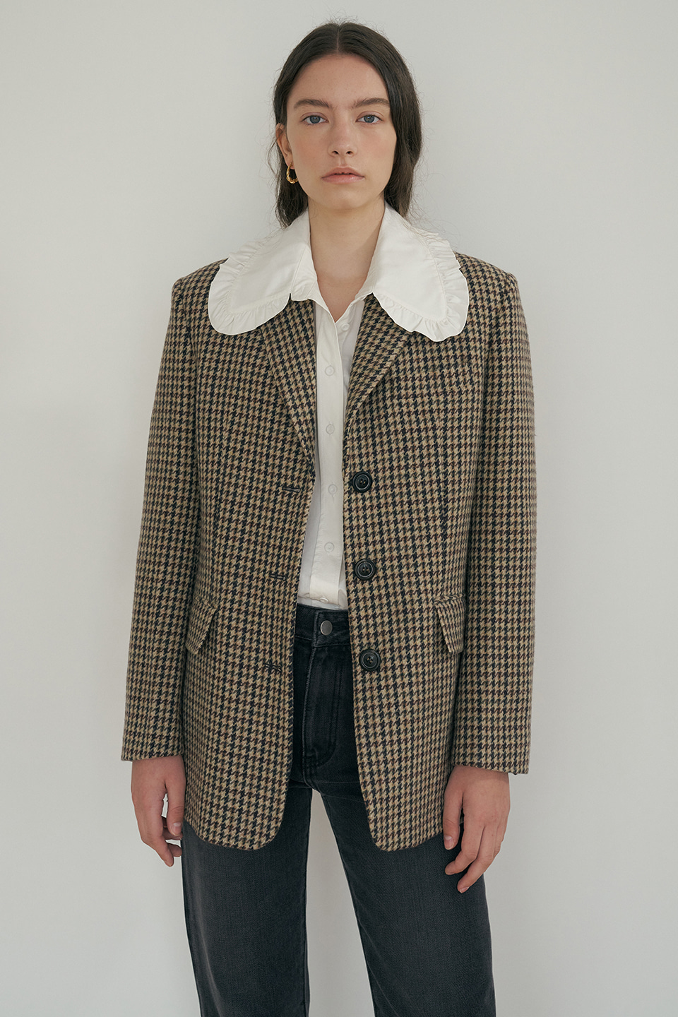 wool check jacket (beige)