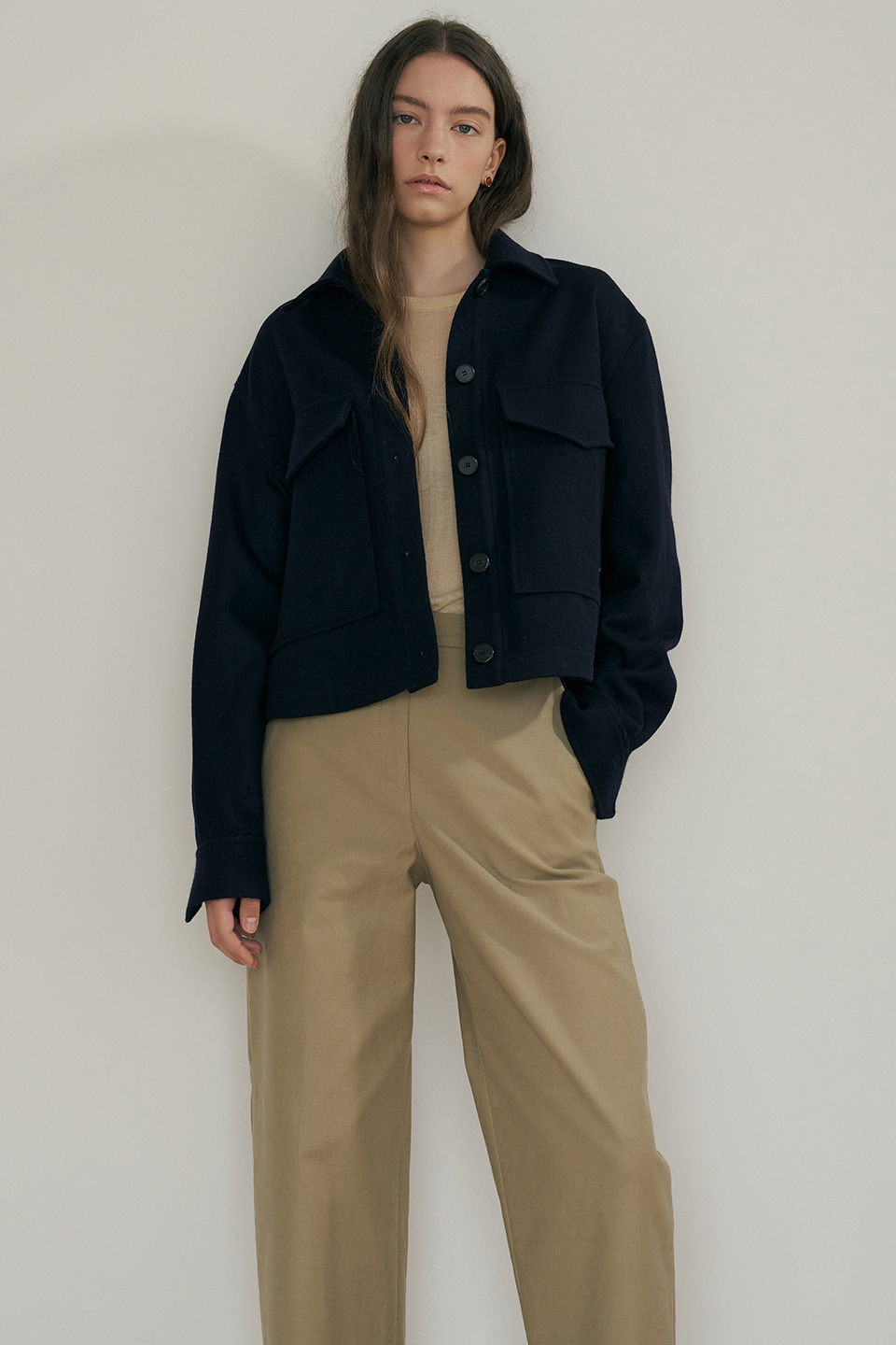 wool cropped jacket (navy)
