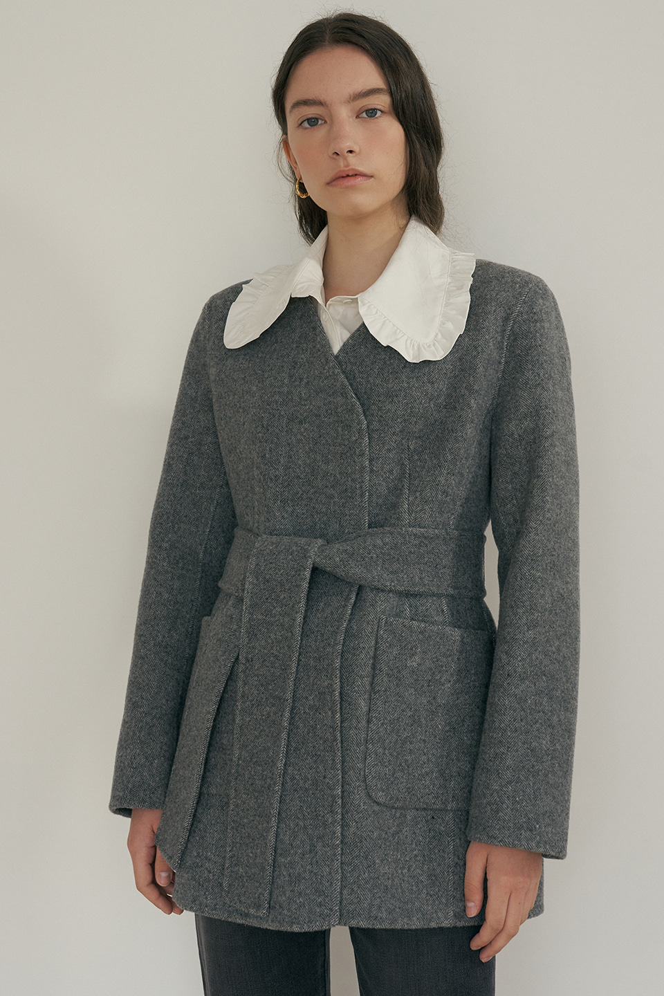 wool herringbone half coat (grey)