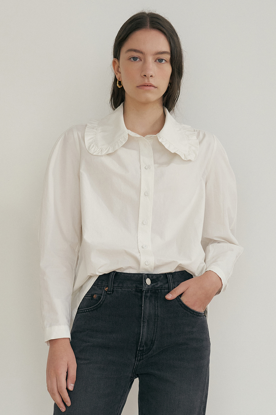 ruffled cotton blouse (off white)