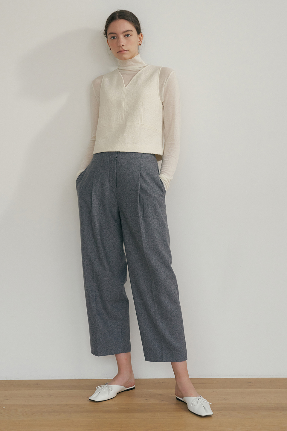 raw cut wool pants (grey)