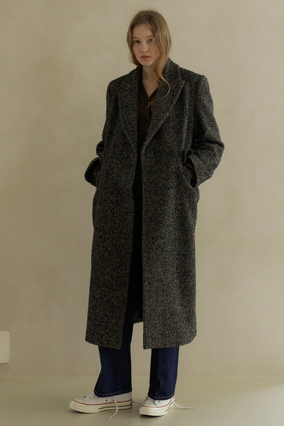 herringbone double coat (brown)