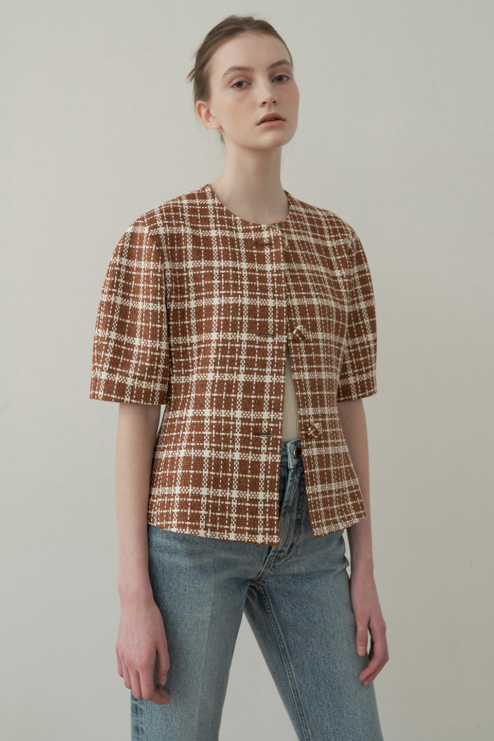 tweed volume jacket [fabric from Italy] (brown)